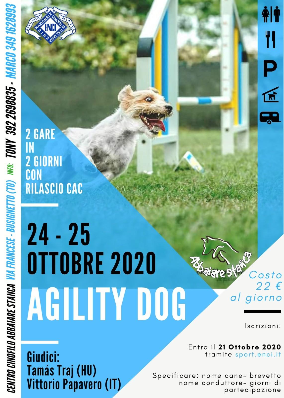 DUE GIORNI DI AGILITY ENCI 24 E 25 OTTOBRE 2020