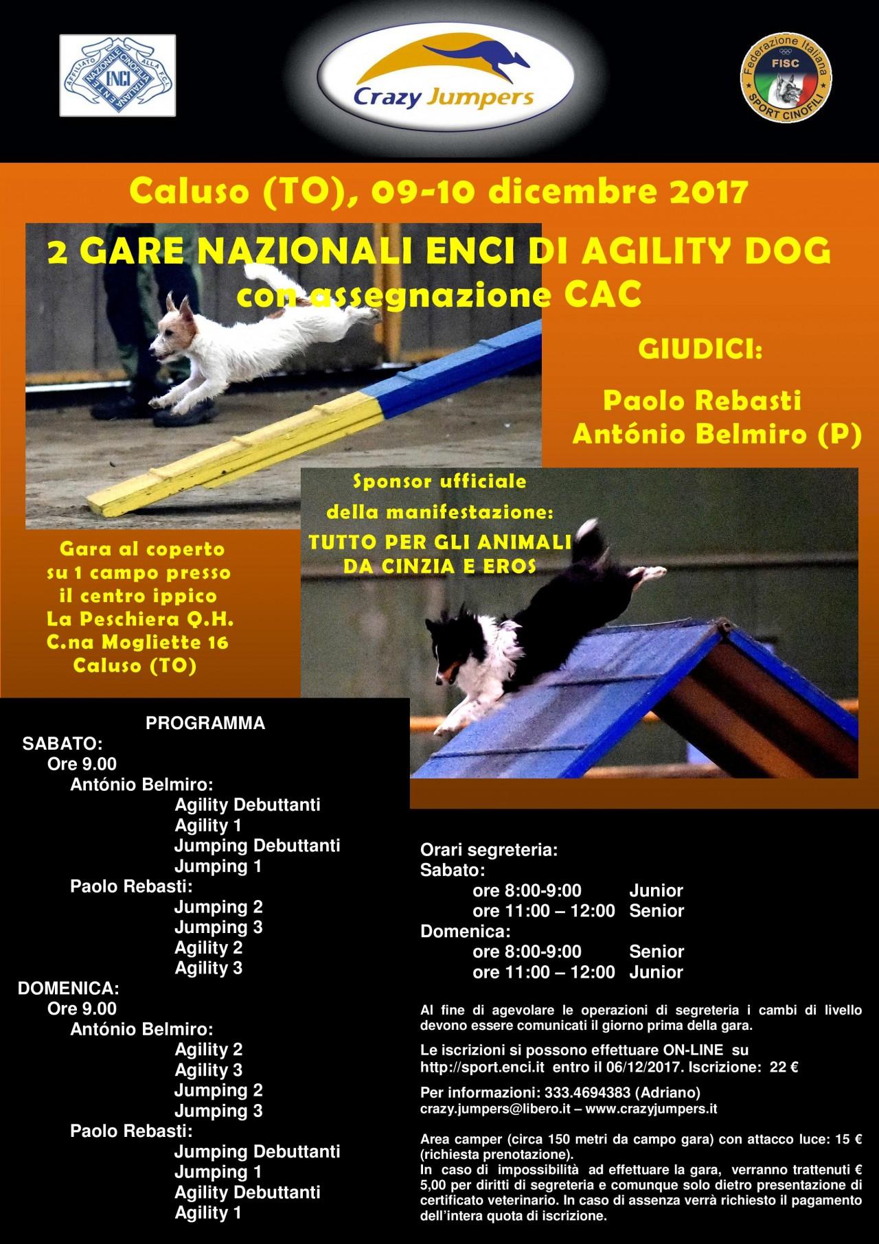 SABATO 09 DICEMBRE GARA NAZIONALE DI AGILITY DOG