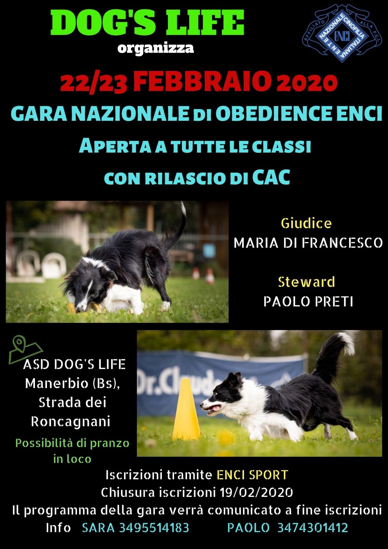22-23/02/2020 GARA NAZIONALE DI OBEDIENCE ENCI PRESSO DOG'S LIFE