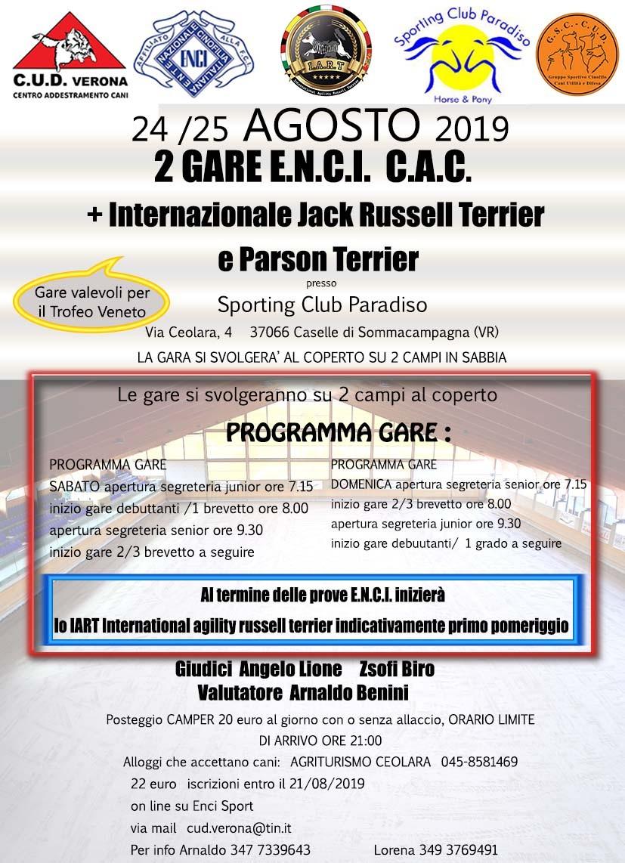 G.S.C. C.U.D. VERONA 2 GARE ENCI + INTERNAZIONE JACK E PARSON RUSSELL TERRIER