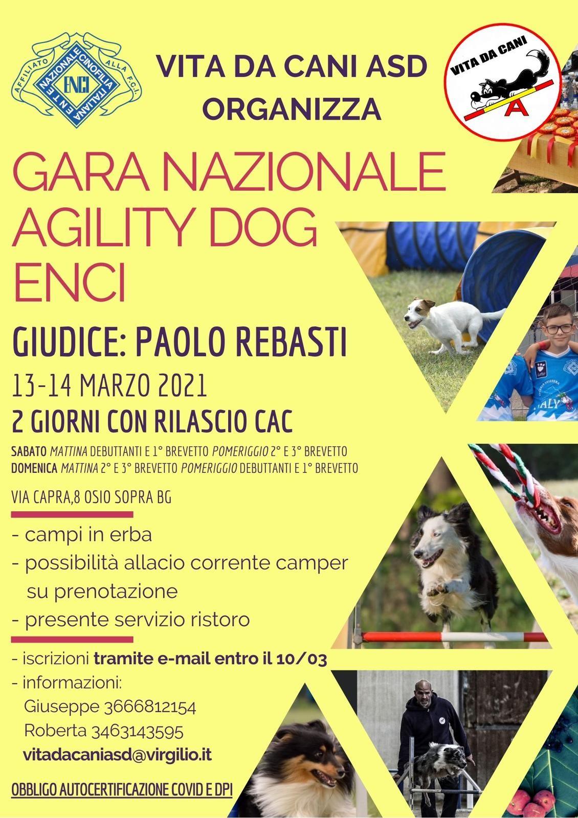 GARA NAZIONALE DI AGILITY DOG 14 MARZO 2021