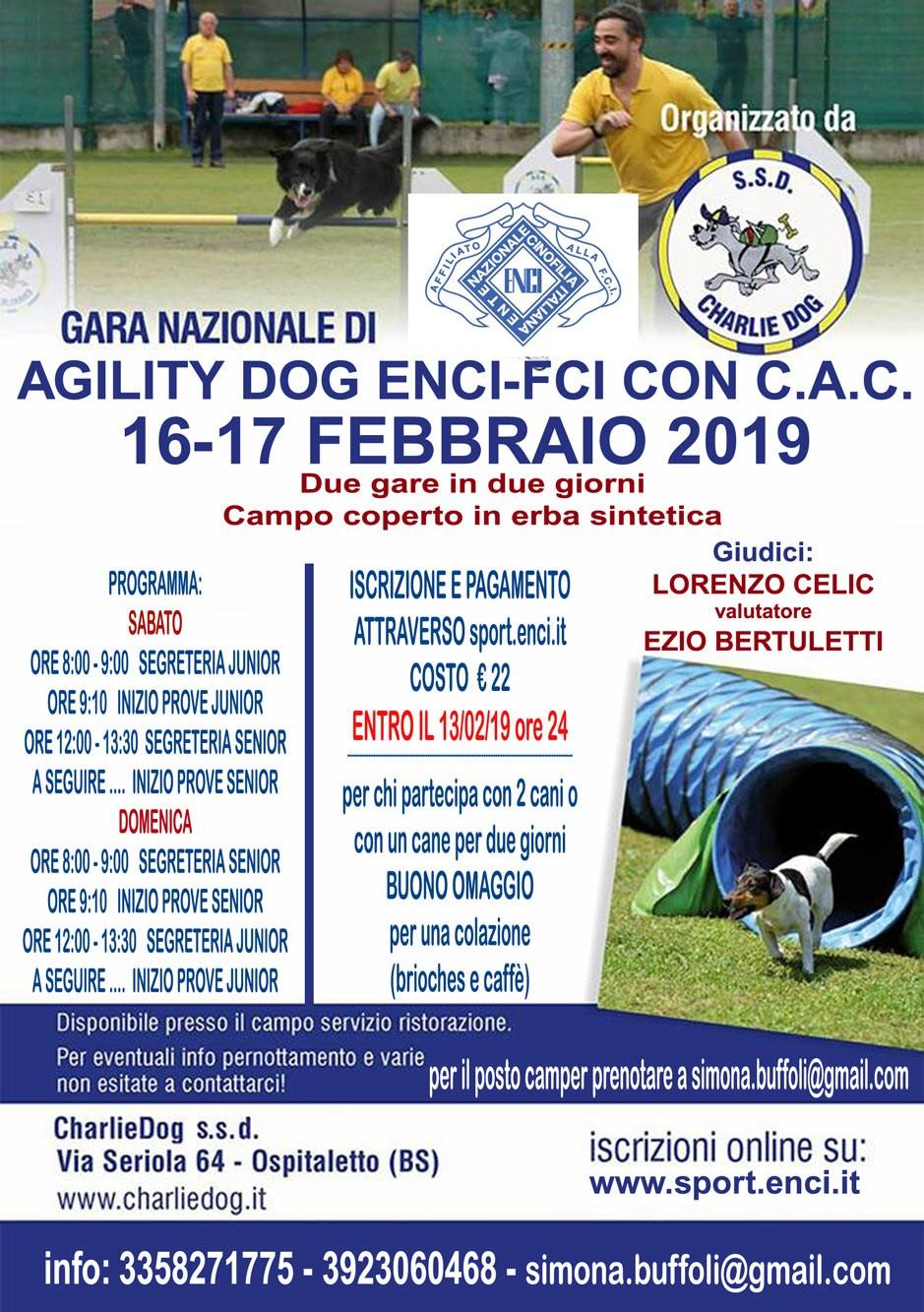 GARA NAZIONALE DI AGILITY CHARLIE DOG  17 FEBBRAIO 2019