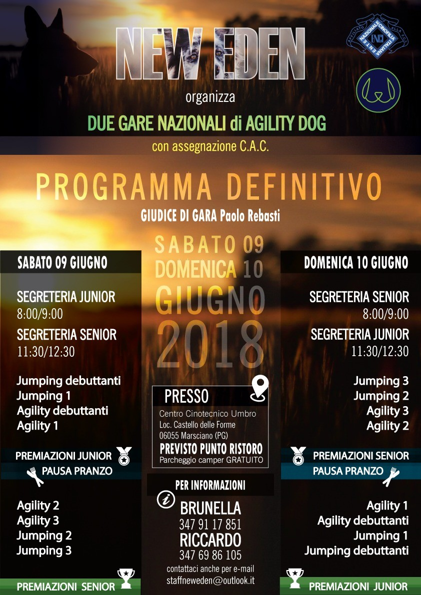 09 GIUGNO 2018 - GARA NAZIONALE di AGILITY DOG - NEW EDEN