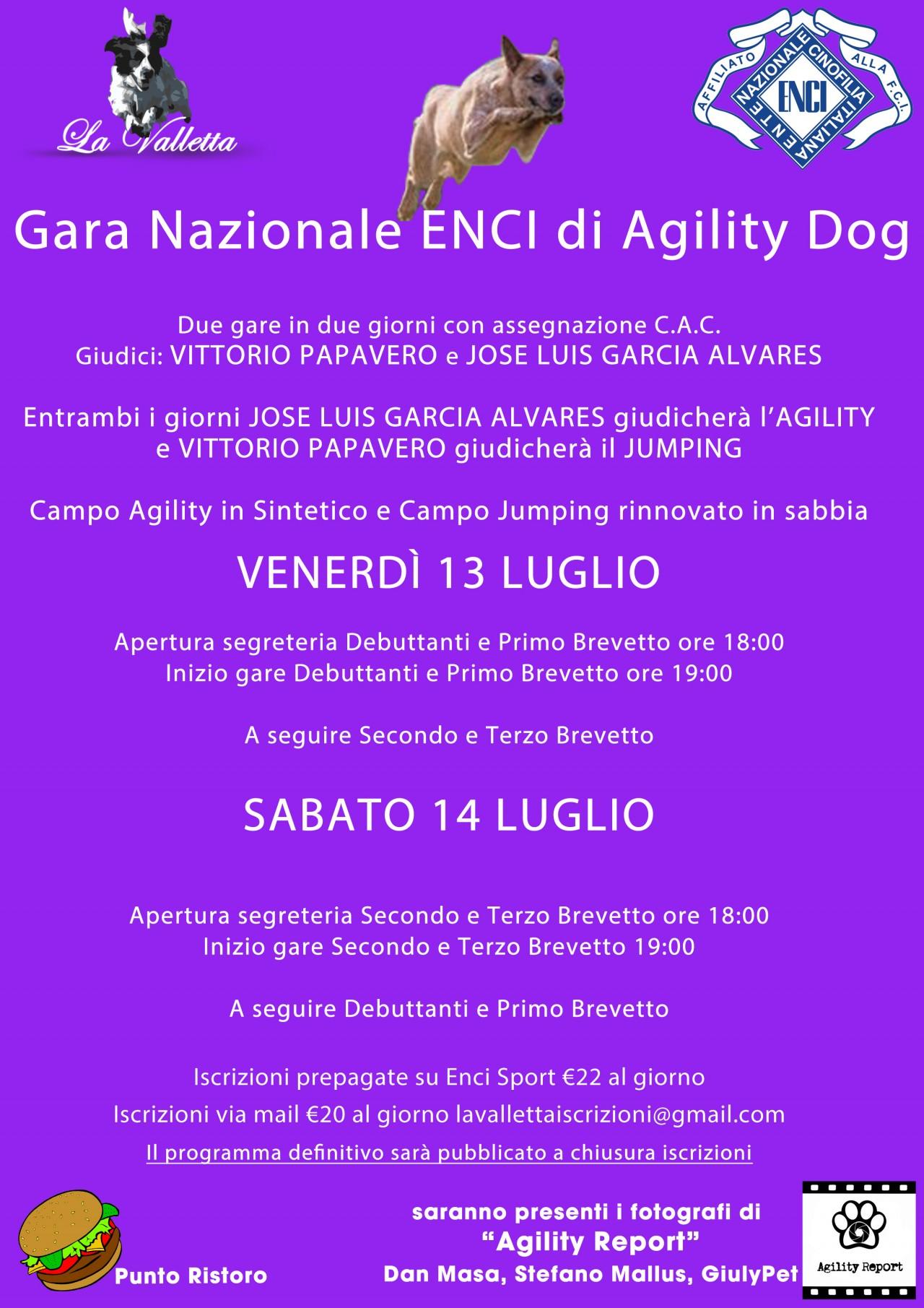 Gara Nazionale di  Agility dog in Notturna 13 luglio 2018