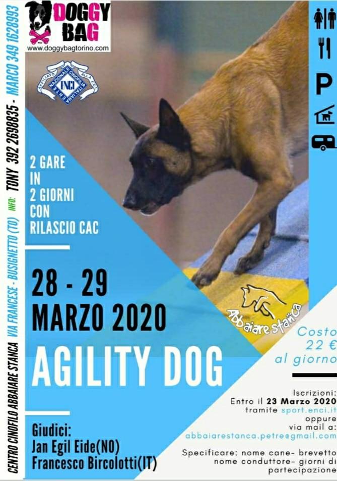 28/29 marzo 2020 Due gare di agility dog in due giorni con rilascio cac