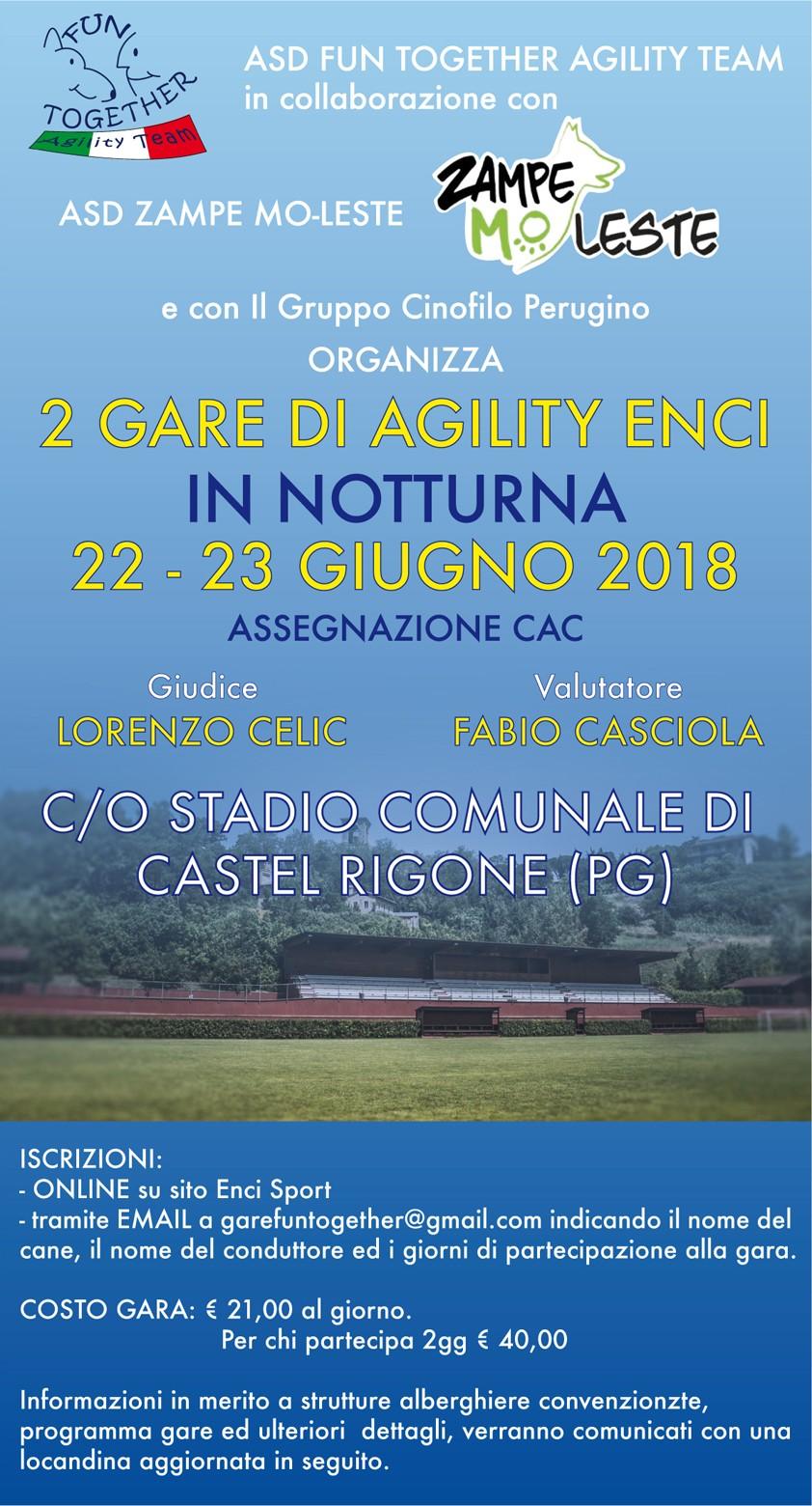 GARA ENCI AGILITY DOG DEL 22/06/2018 IN NOTTURNA