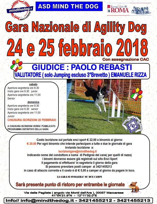 Gara Nazionale di  Agility dog 25 febbraio 2018