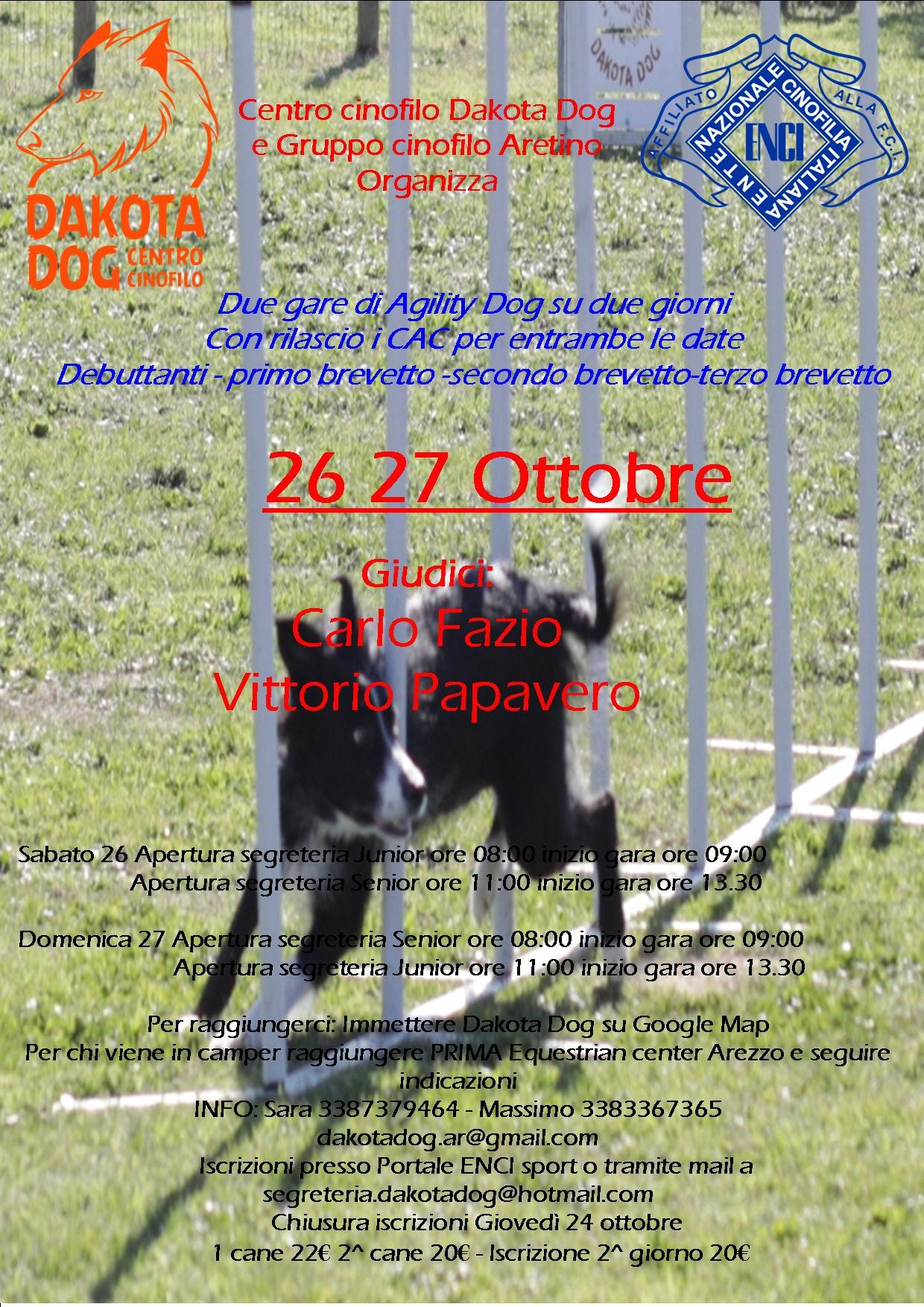 Gara Nazionale di Agility Dog di Arezzo 26 Ottobre 2019 con rilascio di CAC