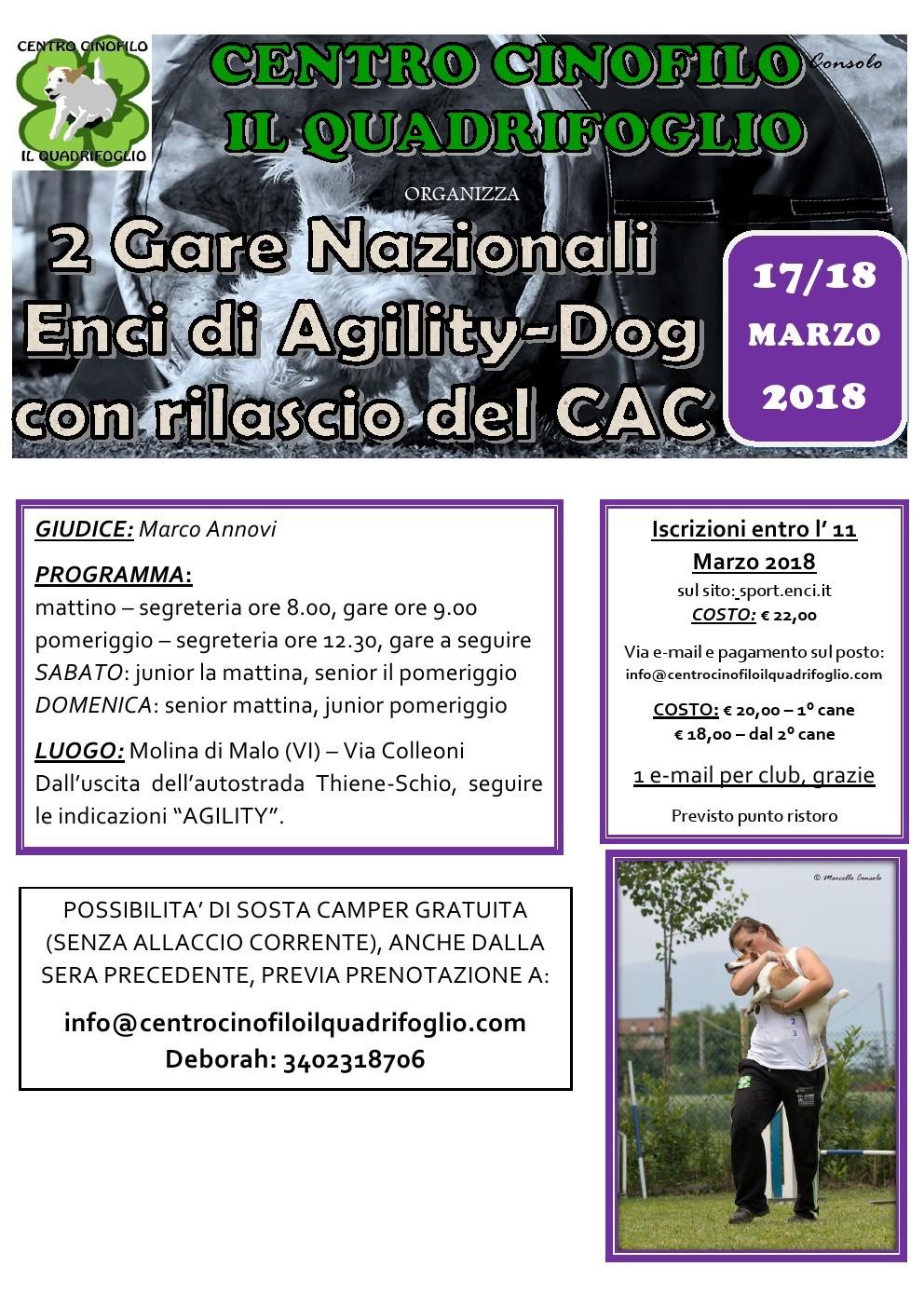 Gara Nazionale CAC a Molina di Malo (VI)  2 gare in due giorni