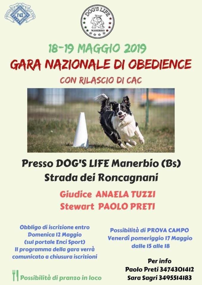18-19 MAGGIO 2019 GARA NAZIONALE DI OBEDIENCE CON RILASCIO CAC