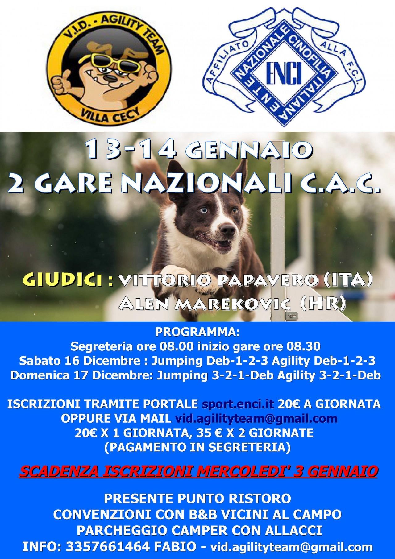 GARA NAZIONALE C.A.C. DOMENICA 14 GENNAIO