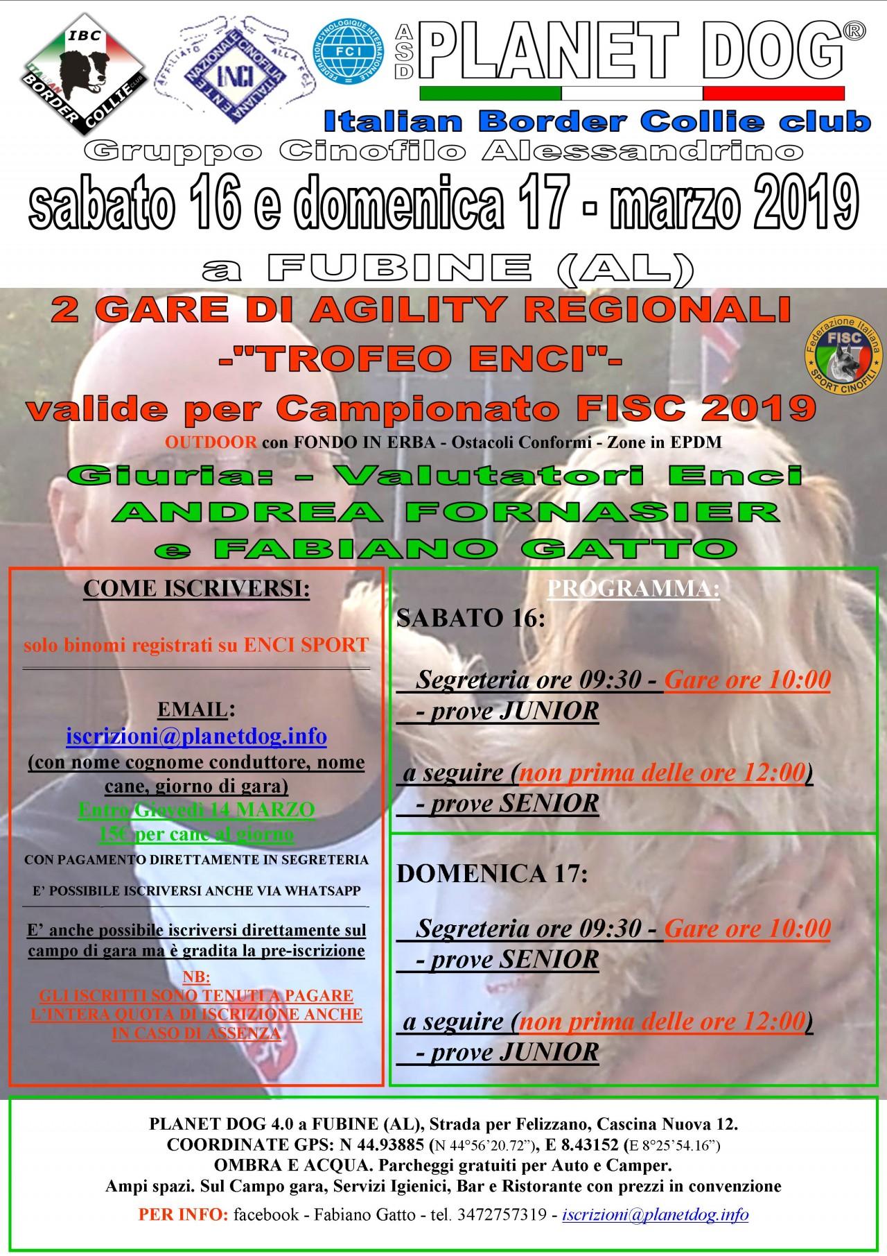 Gara Regionale di Agility TROFEO ENCI + Campionato Fisc ... 16 marzo 2019