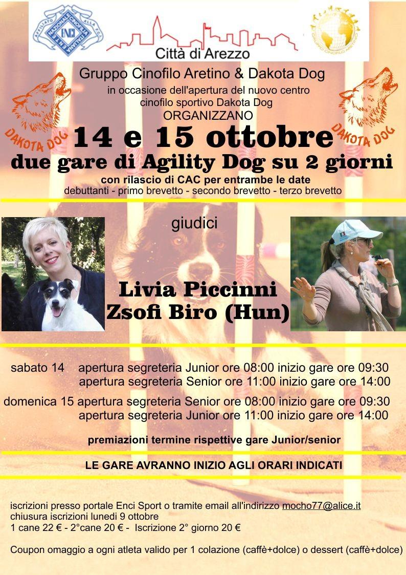 Gara Nazionale di Agility Dog di Arezzo 15 ottobre con rilascio di CAC
