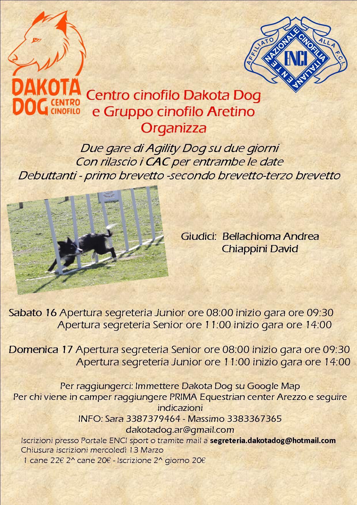 Gara Nazionale di Agility Dog di Arezzo 17 Marzo con rilascio di CAC