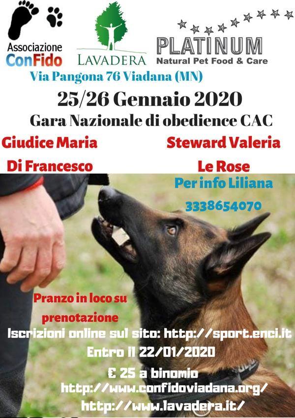 25/26 Gennaio 2020 Associazione Confido Viadana  Gara Nazionale Obedience CAC