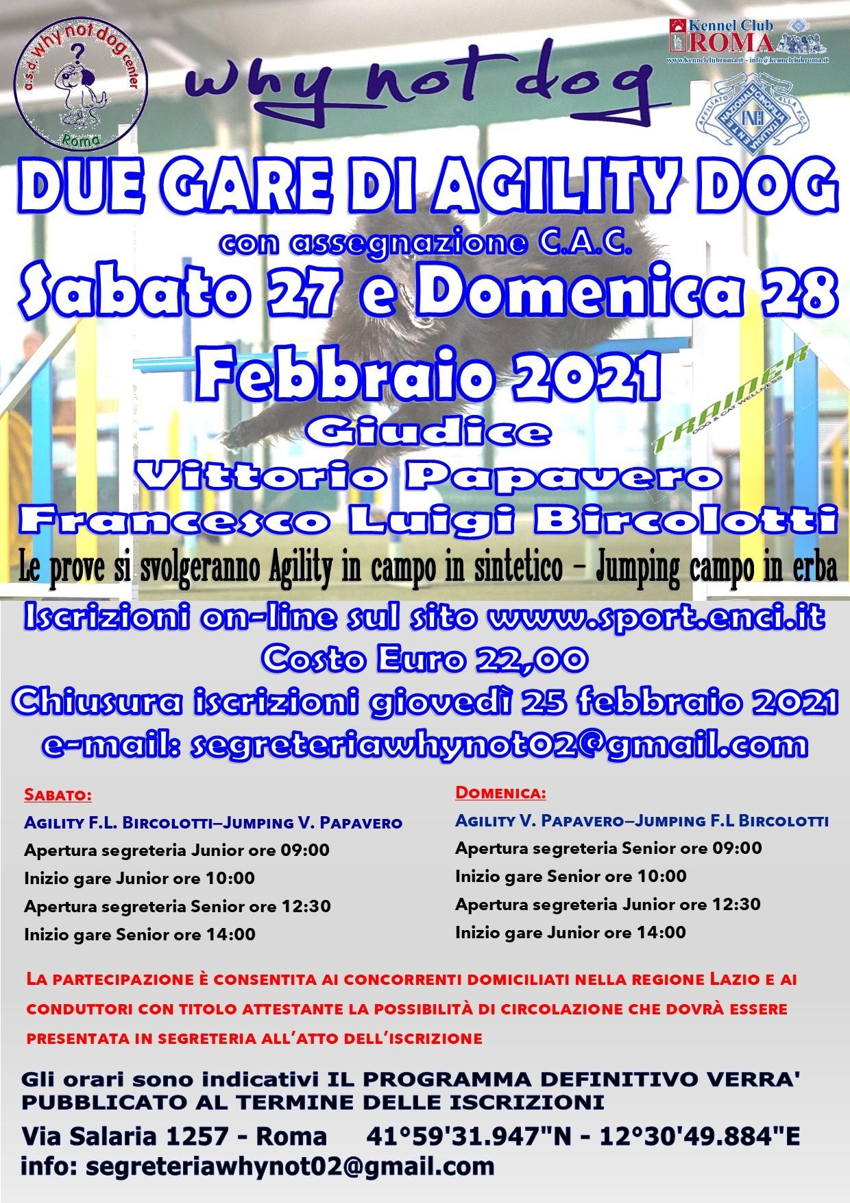 Gara Nazionale di Agility del 27 e 28 febbraio 2021